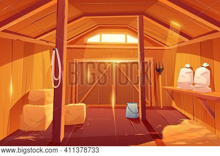 Farm Barn House Inside View. Empty Wooden Ranch Interior With Haystacks, Sacks, Fork, Huge Gate And