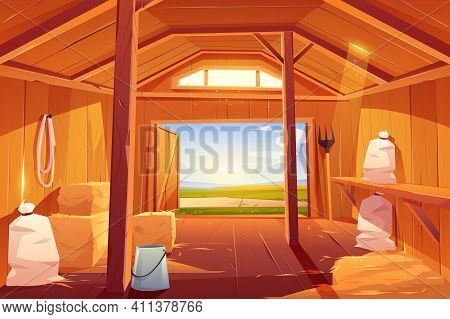 Farm Barn House Inside. Empty Wooden Ranch Interior With Haystacks, Sacks, Fork, Open Gate And Green