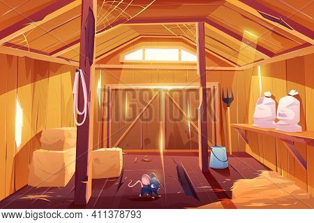 Mouse In Farm Barn House. Fieldmouse Rodent In Wooden Ranch Interior With Haystacks, Sacks, Fork, Hu