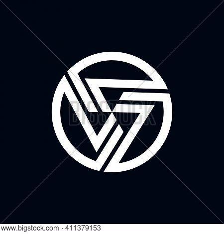 Number 7 Or Seven Logo Template With Geometric Japanese Kamon Illustration In Flat Design Monogram S