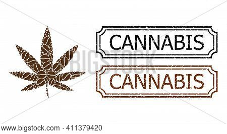 Collage Cannabis Composed Of Coffee Seeds, And Grunge Cannabis Rectangle Seals With Notches. Vector