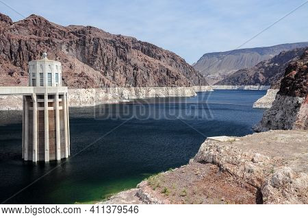 View Of The Pen Stock Towers Over Lake Mead At Hoover Dam, Between Arizona And Nevada States, Usa.vi