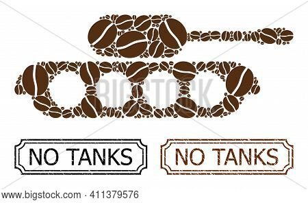 Collage Military Tank Composed Of Coffee Grain, And Grunge No Tanks Rectangle Badges With Notches. V