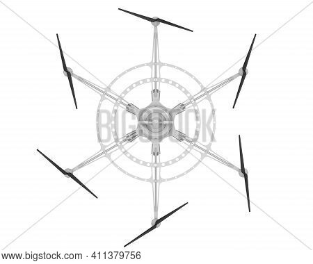 Hexacopter For Cargo Delivery. Unmanned Aerial Vehicle With Six Propellers For Cargo Delivery. 3d Il