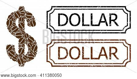 Mosaic Dollar Designed From Coffee Beans, And Grunge Dollar Rectangle Seal Stamps With Notches. Vect