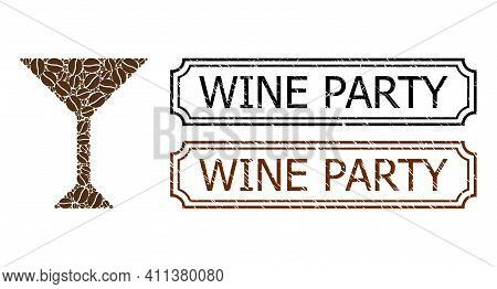 Collage Martini Glass Designed From Coffee Grain, And Grunge Wine Party Rectangle Badges With Notche