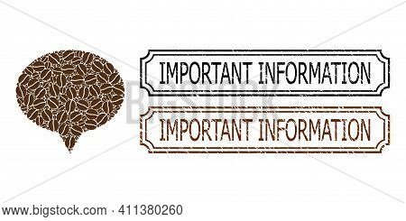 Mosaic Banner Composed Of Coffee Seeds, And Grunge Important Information Rectangle Seal Stamps With