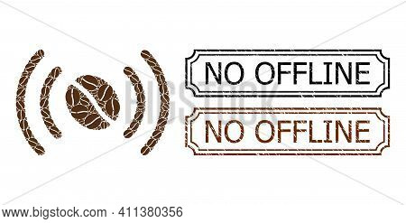 Collage Coffee Wifi Spot United From Cacao Grain, And Grunge No Offline Rectangle Seal Stamps With N