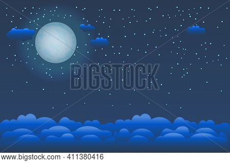 Mystical Night Sky Background With Moon, Clouds And Stars. Moonlight Night. Stylized Halloween Night