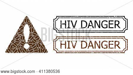 Collage Warning Constructed From Coffee Grain, And Grunge Hiv Danger Rectangle Seal Stamps With Notc