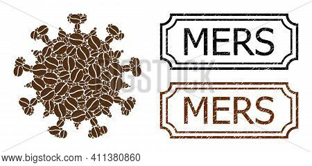 Mosaic Sars Virus Organized From Coffee Grain, And Grunge Mers Rectangle Stamps With Notches. Vector
