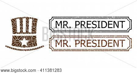 Mosaic Uncle Sam Hat Organized From Cacao Beans, And Grunge Mr. President Rectangle Stamps With Notc