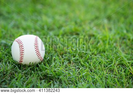 Close-up Baseball On The Infield, Sport Concept