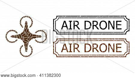 Collage Air Drone Constructed From Coffee Beans, And Grunge Air Drone Rectangle Seal Stamps With Not