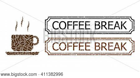 Collage Coffee Break Designed From Coffee Seeds, And Grunge Coffee Break Rectangle Stamps With Notch