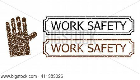 Mosaic Rubber Glove United From Cacao Grain, And Grunge Work Safety Rectangle Stamps With Notches. V