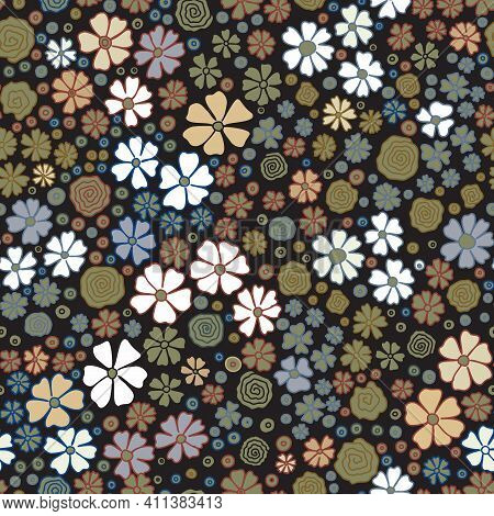 Seamless Pattern With Small Meadow Flowers. Cute Blue, Brown, White, Floral Background With Khaki Co