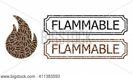 Collage Fire Flame Designed From Coffee Grain, And Grunge Flammable Rectangle Seal Stamps With Notch