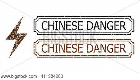 Collage Electric Bolt United From Coffee Seeds, And Grunge Chinese Danger Rectangle Seal Stamps With