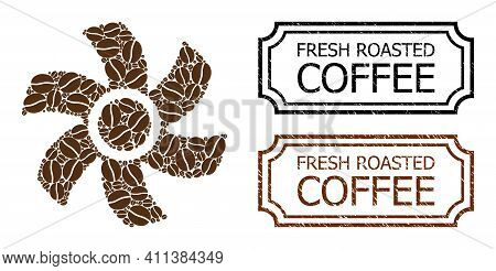 Mosaic Rotor United From Coffee Seeds, And Grunge Fresh Roasted Coffee Rectangle Stamps With Notches