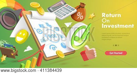 3d Vector Conceptual Illustration Of Return On Investment, Roi.