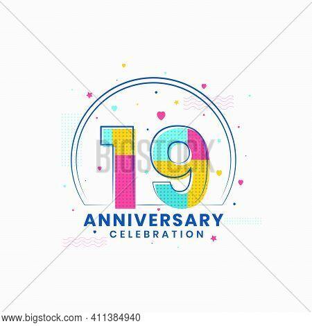 19 Anniversary Celebration, Modern 19th Anniversary Design Vector Illustrator