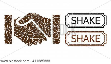 Mosaic Acquisition Handshake Designed From Coffee Seeds, And Grunge Shake Rectangle Seal Stamps With