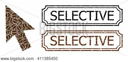 Collage Cursor Arrow United From Coffee Beans, And Grunge Selective Rectangle Stamps With Notches. V