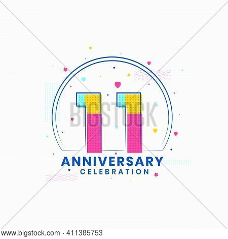 11 Anniversary Celebration, Modern 11th Anniversary Design Vector Illustrator