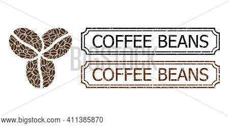 Mosaic Coffee Beans Composed Of Cacao Beans, And Grunge Coffee Beans Rectangle Stamps With Notches.