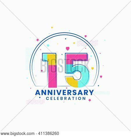 15 Anniversary Celebration, Modern 15th Anniversary Design Vector Illustrator