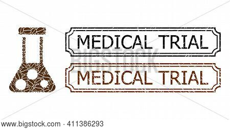 Mosaic Chemistry Constructed From Coffee Beans, And Grunge Medical Trial Rectangle Stamps With Notch