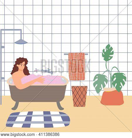 Cute Girl Takes A Bubble Bath In The Bathroom. Bathroom Interior, Relaxation
