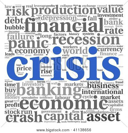 Crisis concept in word tag cloud on white background