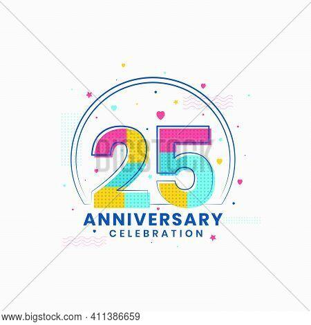 25 Anniversary Celebration, Modern 25th Anniversary Design Vector Illustrator