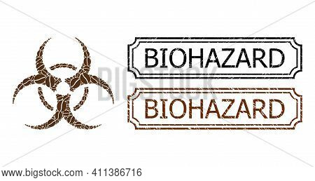 Collage Biohazard Constructed From Cacao Beans, And Grunge Biohazard Rectangle Seal Stamps With Notc