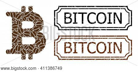 Collage Bitcoin Composed Of Coffee Beans, And Grunge Bitcoin Rectangle Badges With Notches. Vector C