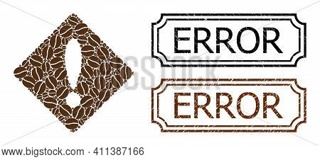 Collage Error Composed Of Coffee Seeds, And Grunge Error Rectangle Stamps With Notches. Vector Coffe