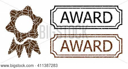 Collage Award Composed Of Coffee Grain, And Grunge Award Rectangle Badges With Notches. Vector Coffe