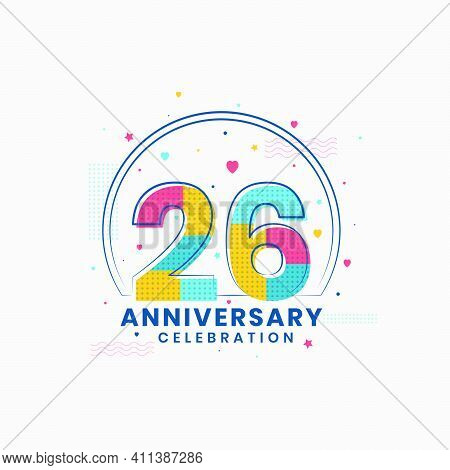26 Anniversary Celebration, Modern 26th Anniversary Design Vector Illustrator