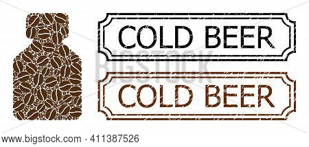 Mosaic Bottle Composed Of Coffee Grain, And Grunge Cold Beer Rectangle Seals With Notches. Vector Co