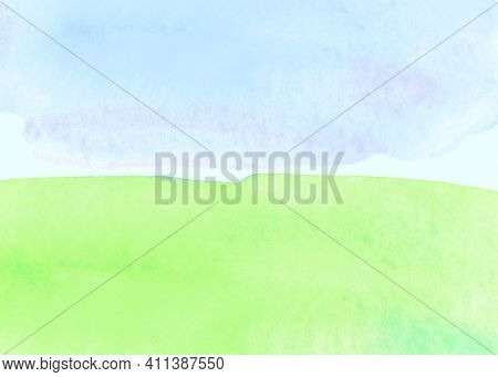 Sunny Meadow, The Land With Green Grass And Blue Sky, Abstract Summer Watercolor Background. Stain B