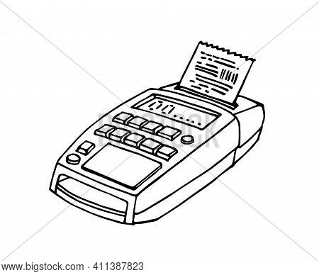 Electronic Portable Cash Register With Wifi For Bank Cards, Commercial Digital Equipment, Vector Ill