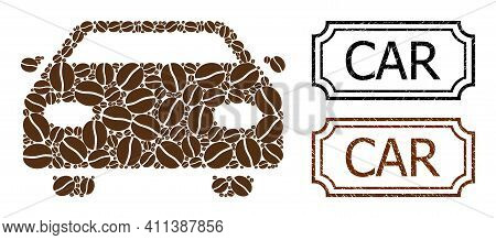 Collage Car Organized From Coffee Beans, And Grunge Car Rectangle Stamps With Notches. Vector Coffee
