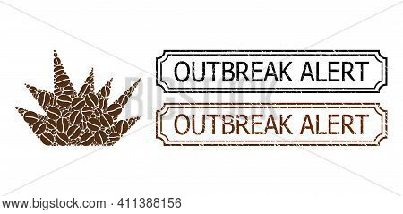 Mosaic Boom Explosion Constructed From Coffee Beans, And Grunge Outbreak Alert Rectangle Stamps With