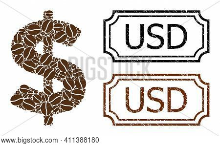 Mosaic American Dollar Constructed From Coffee Seeds, And Grunge Usd Rectangle Seal Stamps With Notc
