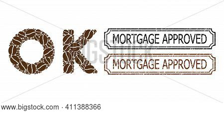 Mosaic Ok Text United From Cocoa Grain, And Grunge Mortgage Approved Rectangle Seals With Notches. V