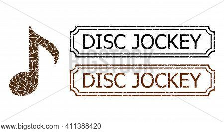 Mosaic Musical Note Organized From Coffee Grain, And Grunge Disc Jockey Rectangle Seal Stamps With N