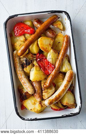 Close Up Of Tray Of Italian Sausage Golden Potato Bake