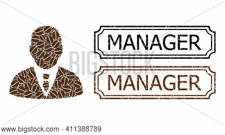 Collage Manager Composed Of Cocoa Beans, And Grunge Manager Rectangle Stamps With Notches. Vector Co